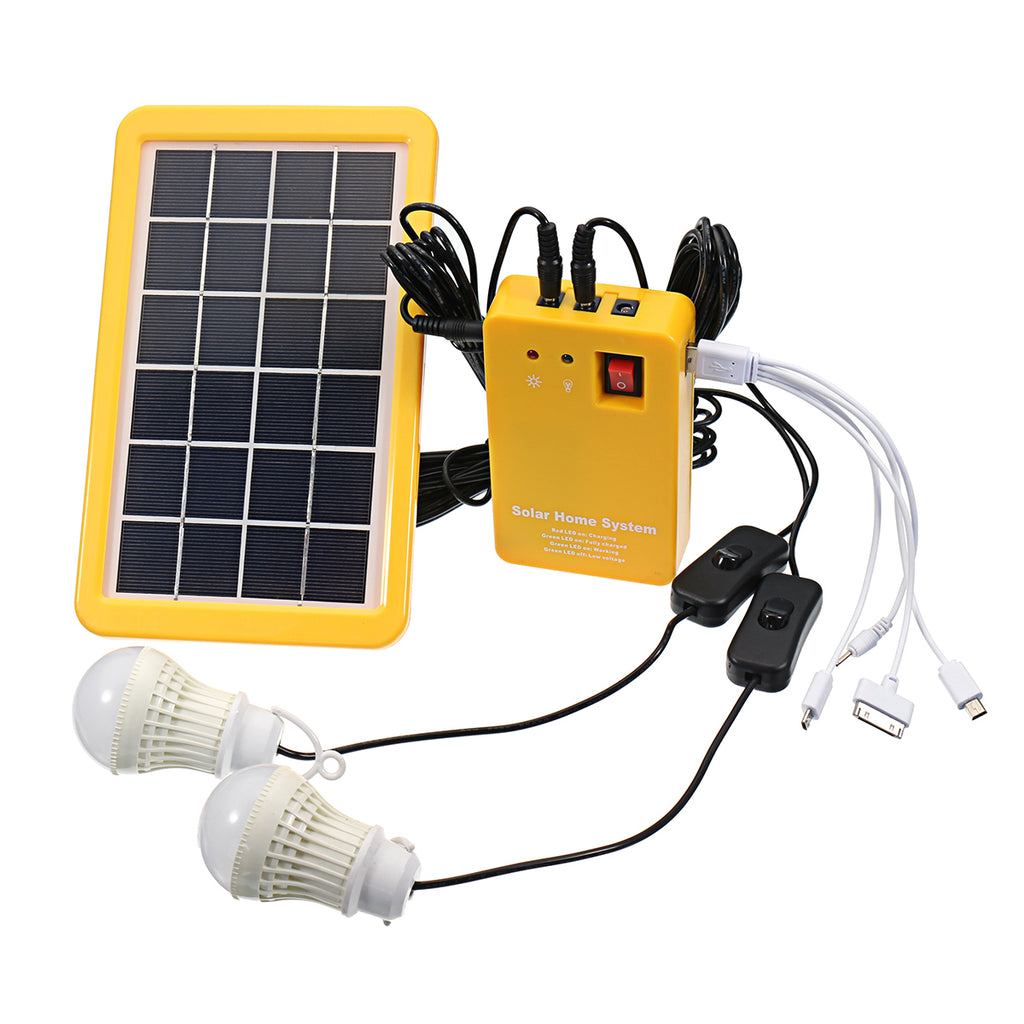 3W Solar Power System Solar Panel Charging Generator Power Generation System with 2 Bulbs