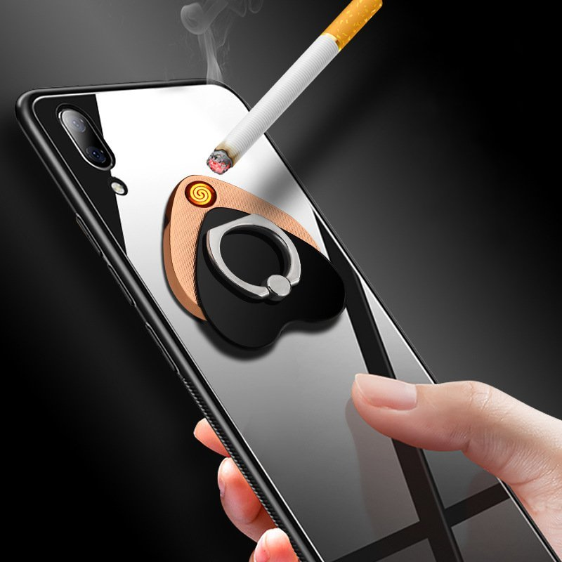 2 in 1 Electric Rechargeable Windproof Cigarette Lighter Finger Ring Holder for Xiaomi Cell Phone