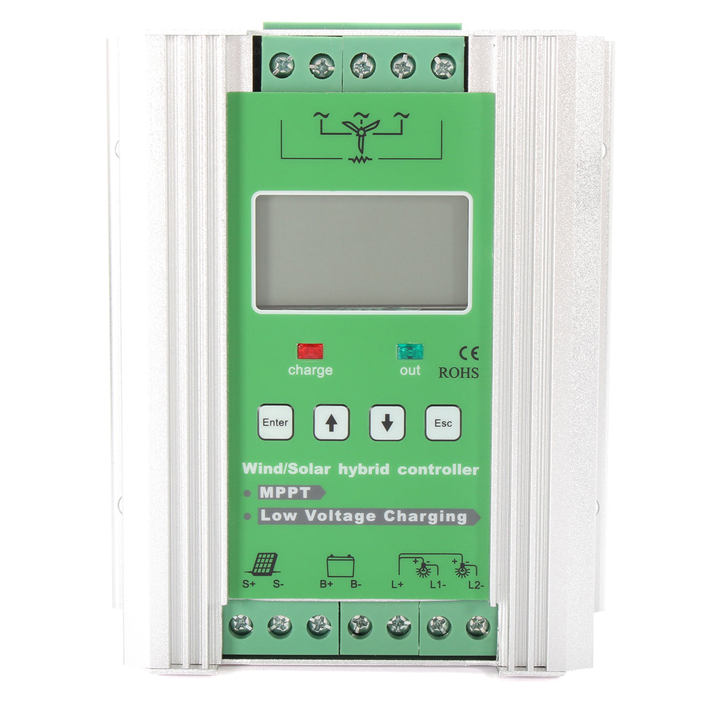 12V/24V Auto Boost MPPT Wind Solar Charge Controller 500W Wind+300W Solar with LCD Display Dump Load