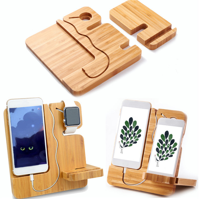 Wooden Detachable Desktop Charging Dock Cable Organizer Phone Holder Stand for iPhone Apple Watch