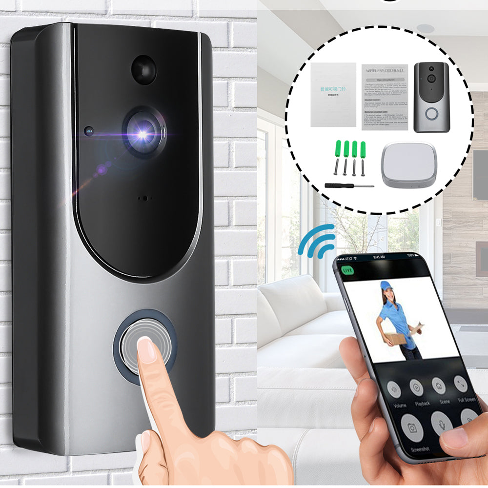 Wireless PIR Video Doorbell Visiable Night Vision Home Smart Intercom + Receiver