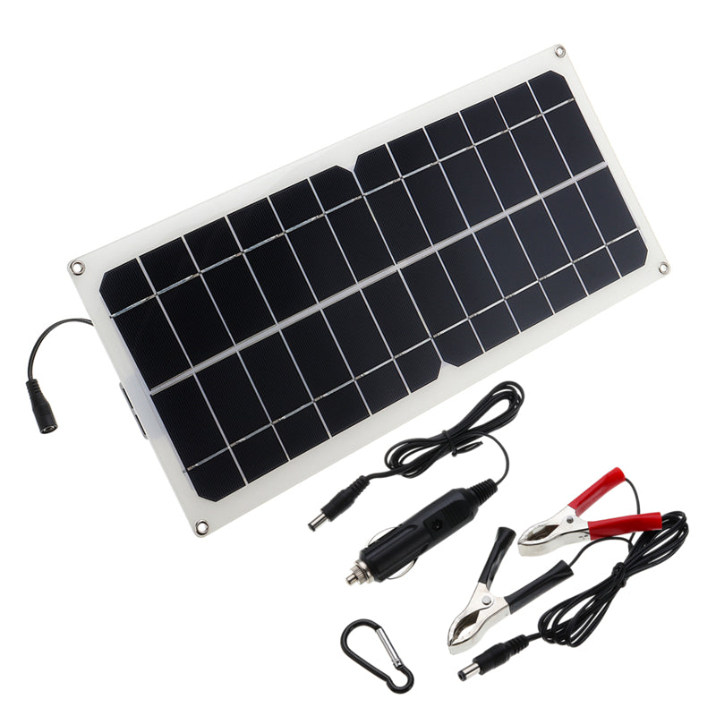 Monocrystalline Silicon Cell Solar Panel Double USB Interface 10W 12V/5V DC Crocodile Solar Panel