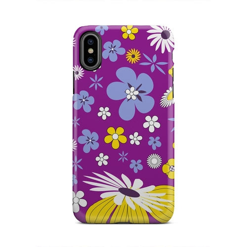 Yellow Blue Flower Pattern Purple iPhone X Case