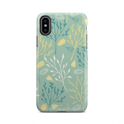 Yellow And Blue Shrubs Spring Floral iPhone X Case