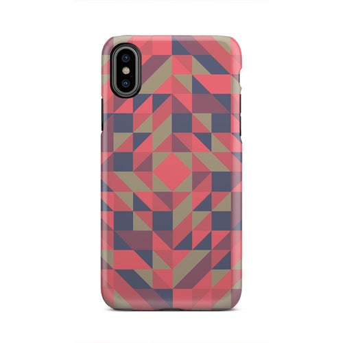 Red Blue Tan Triangle Square Geometric iPhone X