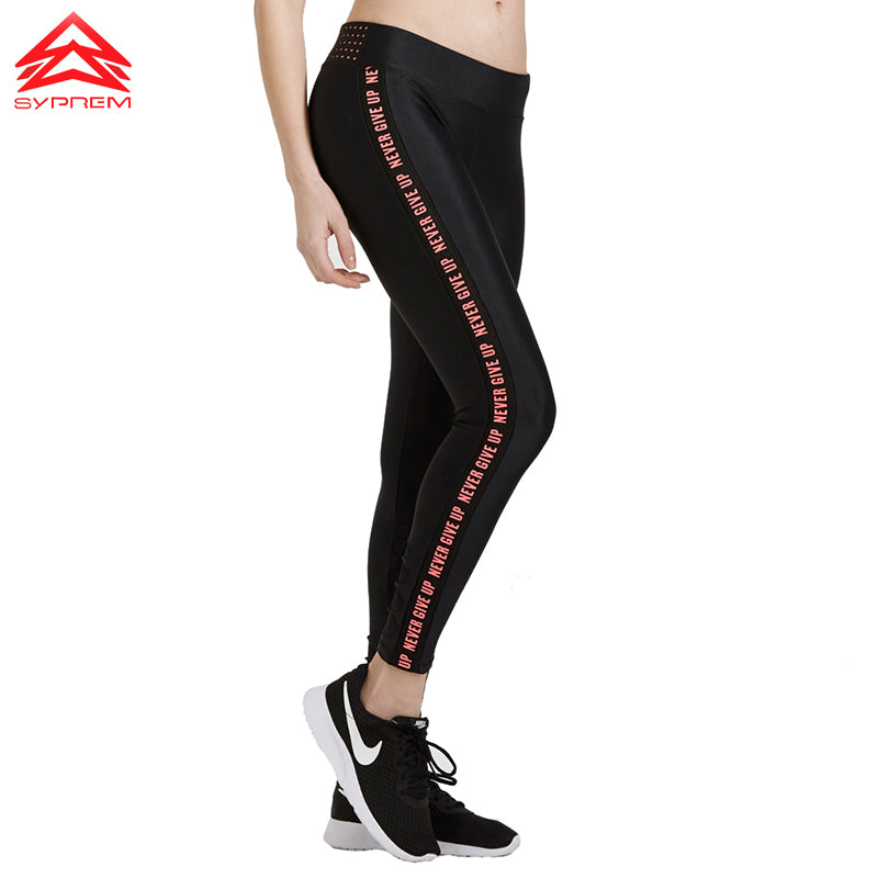 SYPREM sportswear Yoga Pants New Running Gym Female Fitness Quick Dry Letter Elastic Breathable Compression Leggings,1FP1002