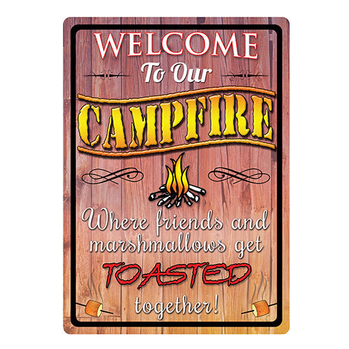 "Tin Sign Welcome To Our Campfire, Size 12"" x 17"""