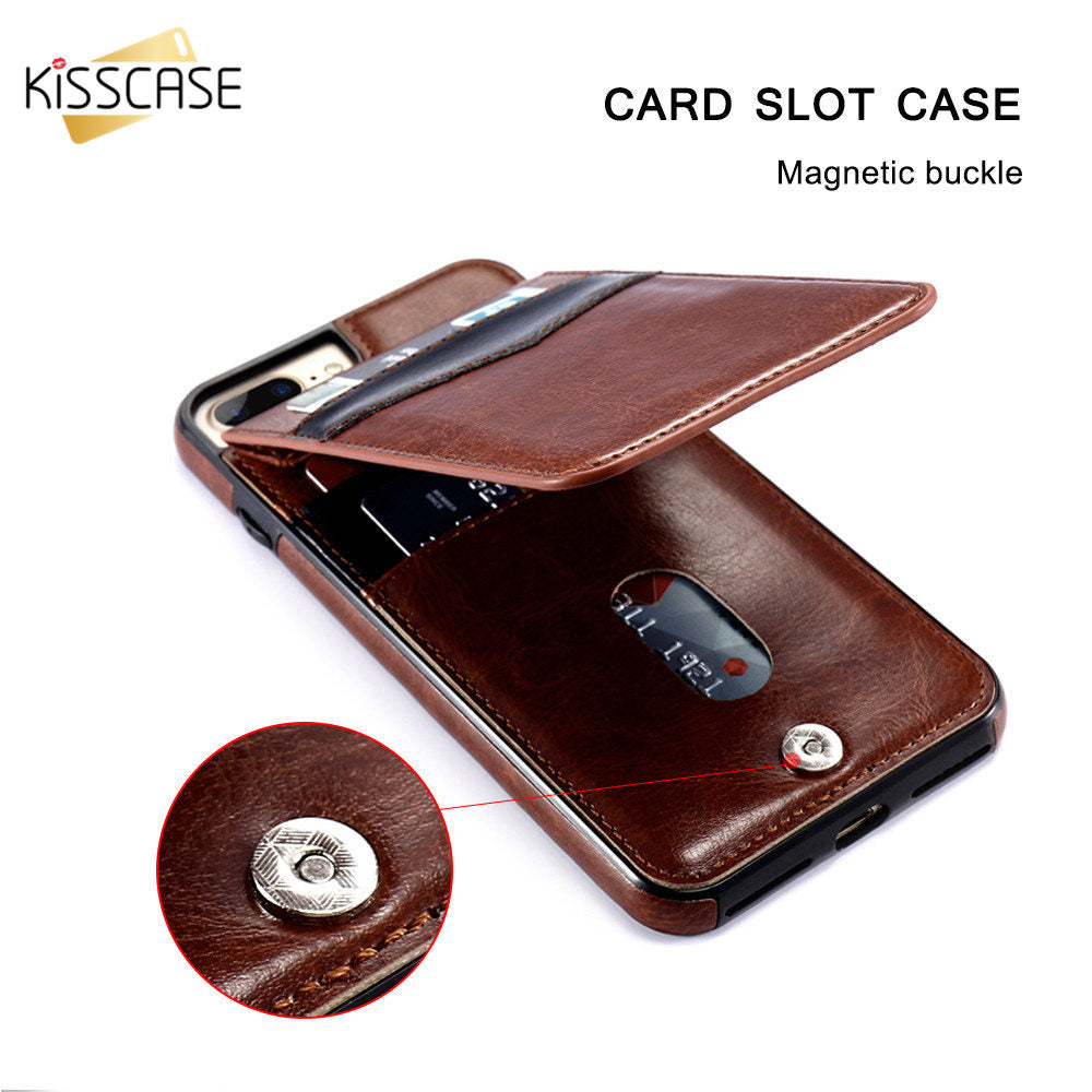 KISSCASE Vertical Flip Card Holder Leather Case For iPhone 6 6S Plus X XR XS Max Retro Cover For iPhone 7 8 Plus Wallet Pouch