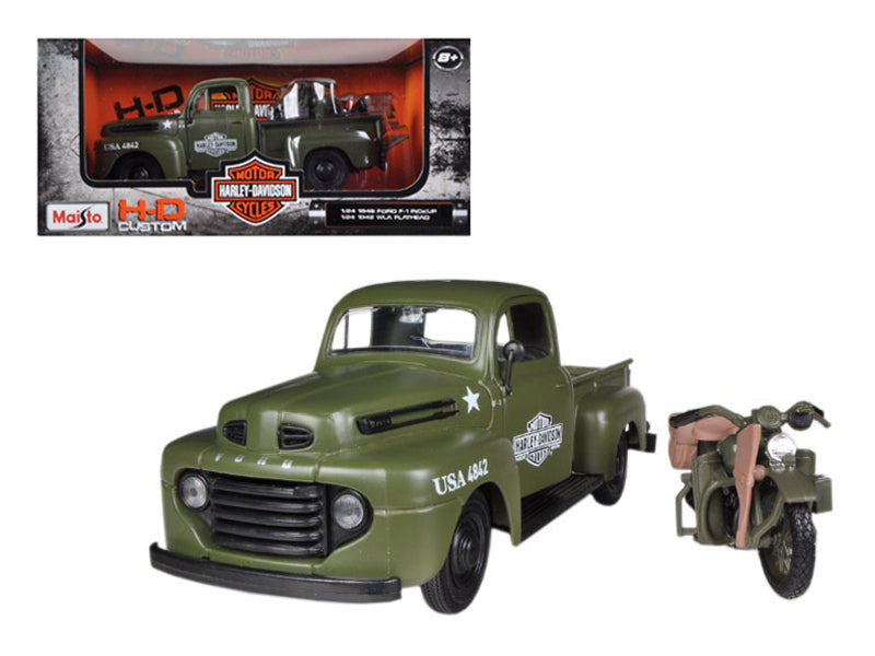 1948 Ford F-1 Pickup Truck Harley Davidson Flat Green With 1942 Harley Davidson WLA Flathead Motorcycle 1/25 by Maisto
