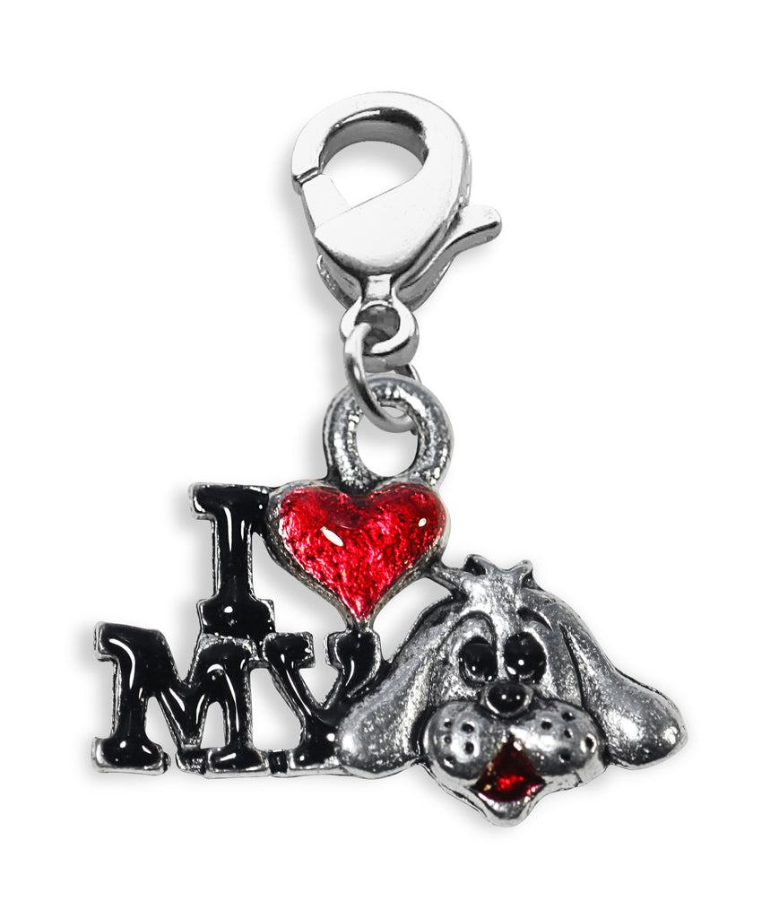 I Love My Dog Charm Dangle in Silver