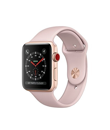 Apple Watch Series 3 42mm Smartwatch (GPS + Cellular, Gold Aluminum Case, Pink Sand Sport Band)