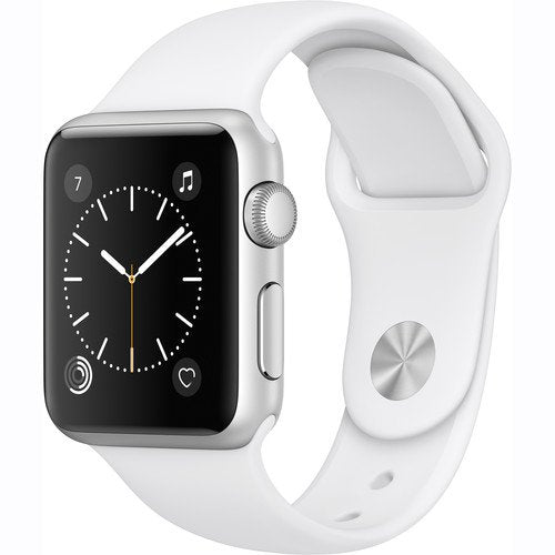 Apple Watch Series 1 Smartwatch 38mm Silver Aluminum Case, White Sport Band - Certified Refurbished