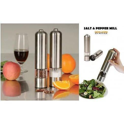 You and Me Salt or Pepper Mills With Electric Dispenser In Stainless Steel