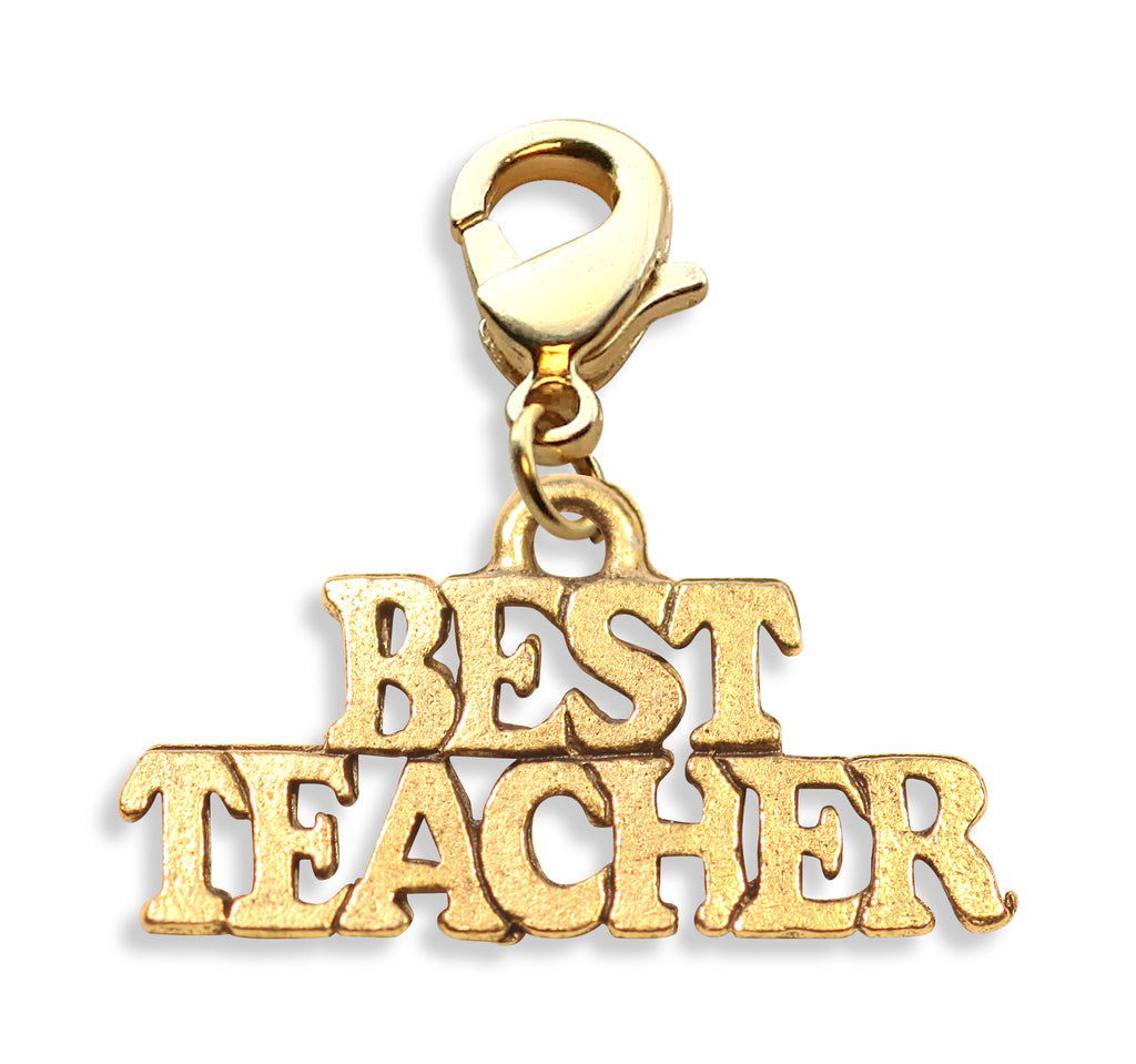 Best Teacher Charm Dangle in Gold