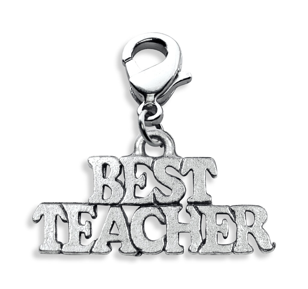 Best Teacher Charm Dangle in Silver