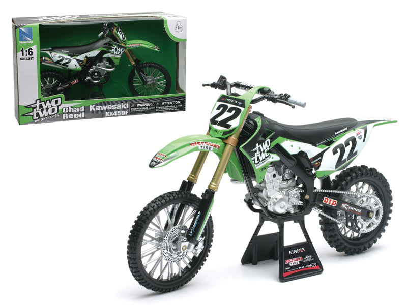 "Kawasaki KX 450F ""Two Two Motorsports"" Chad Reed #22 Dirt Bike Motorcycle 1/6 Diecast Model by New"