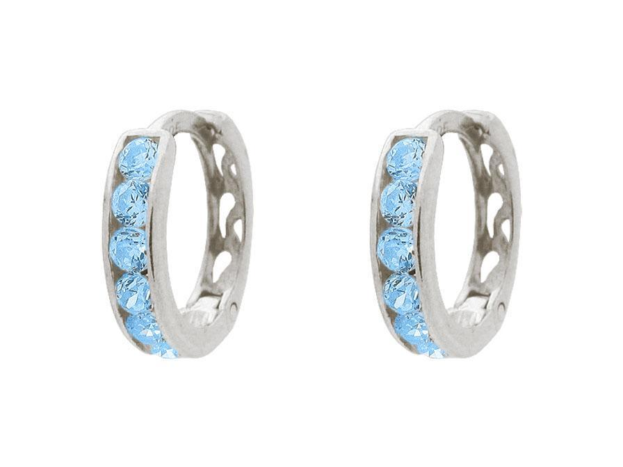 BecKids Small Aqua Blue Sparkling Huggie Earrings for Girls | Sterling Silver