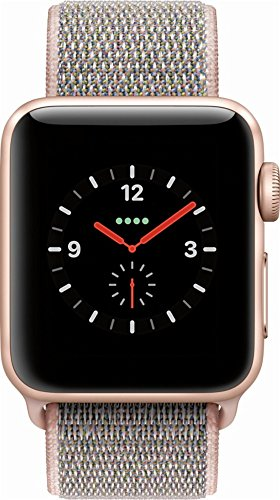 Apple Watch Series 3 38mm Smartwatch (GPS + Cellular, Gold Aluminum Case, Pink Sand Sport Loop Band)