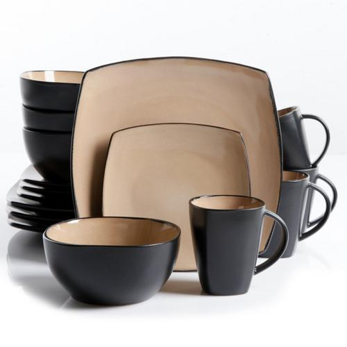 Soho Lounge 16 pc Dinnerware, Taupe Square Shape (Service for 4)