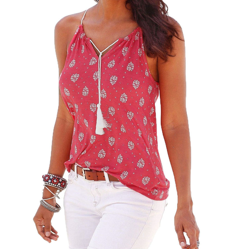 Summer New Tops Women Sleeveless Blouse O Neck Casual Shirt Ladies Vest Singlets White Red Strapp Polera Mujer #00