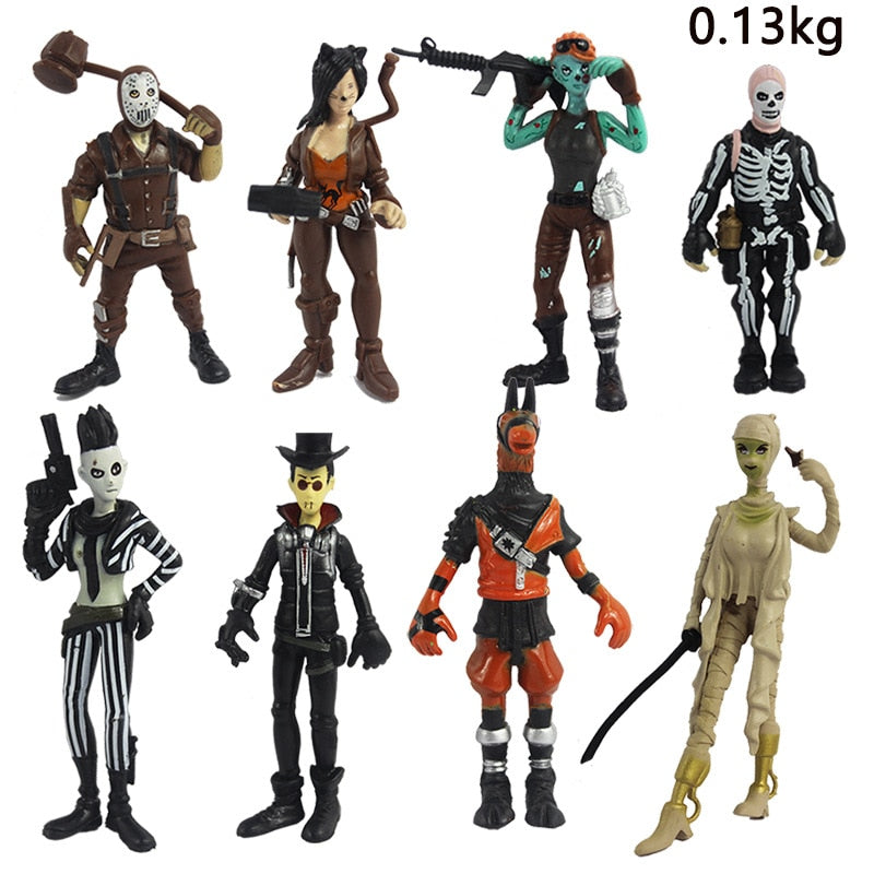 8 pcs/lot Fort nite rare action figure model toy fornite skull Trooper builder solider nit figure fortnit kids gift present