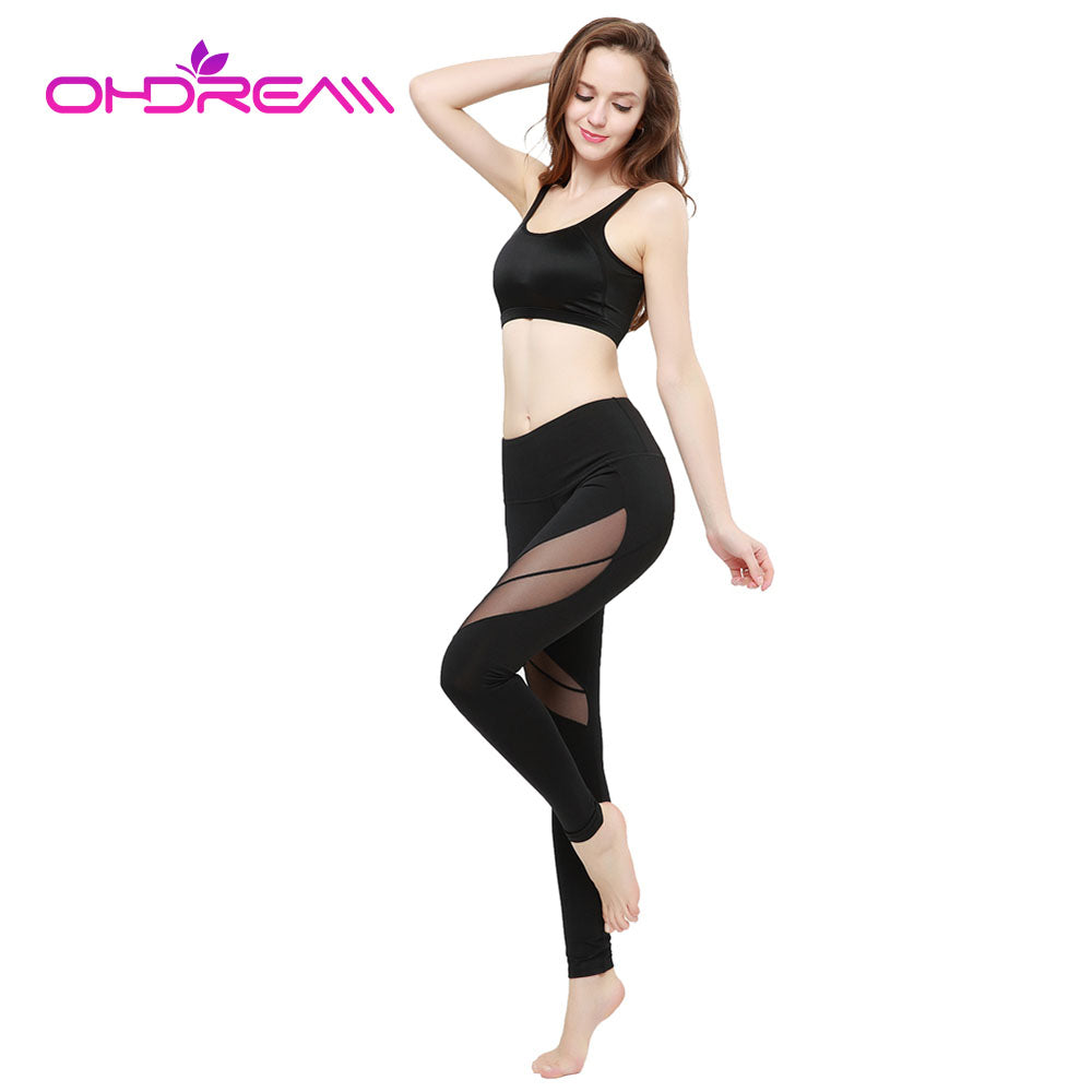 OHDREAM Women Sexy Yoga Pants Black Elastic Fitness Gym Workout Running Tight 2017 Net Yarn Buttocks Yoga Polyester Leggings -A