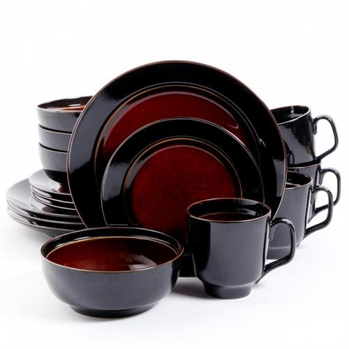 Gibson Elite Bella Galleria 16 Piece Dinnerware Set, Red and Black