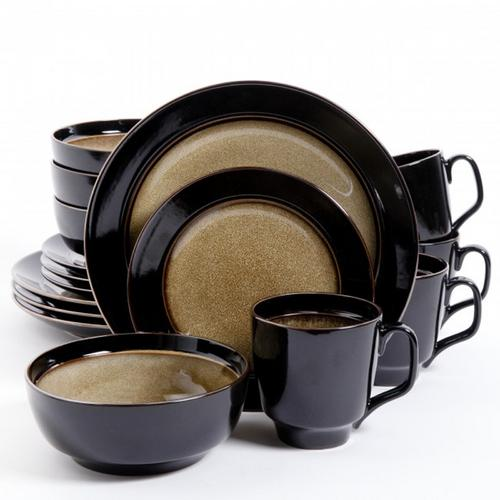 Gibson Elite Bella Galleria 16 Piece Dinnerware Set, Taupe and Black