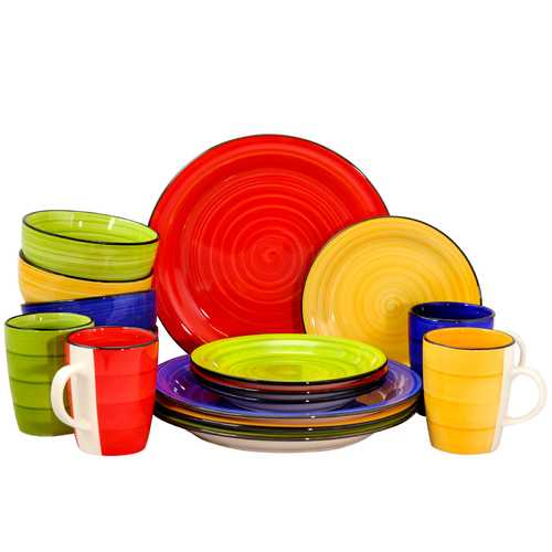 Gibson Home Color Vibes 16 Piece Round Dinnerware Set, Assorted Colors