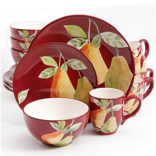 Gibsone Home Fruitful Pears 16pc Dinnerware Set