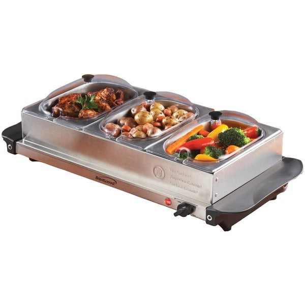 Brentwood Appliances BF-315 Triple Buffet Server with Warming Tray & Three 1.5-Quart Steel Pans