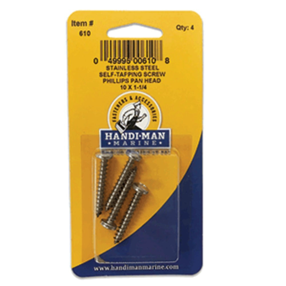 Handi-Man Stainless Steel Phillips Self Tapping Pan Screw - 10 x 1-1/4