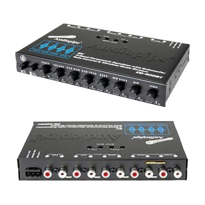 Audiopipe 4 Band Stereo Equalizer/Crossover with Bluetooth 9 volt output