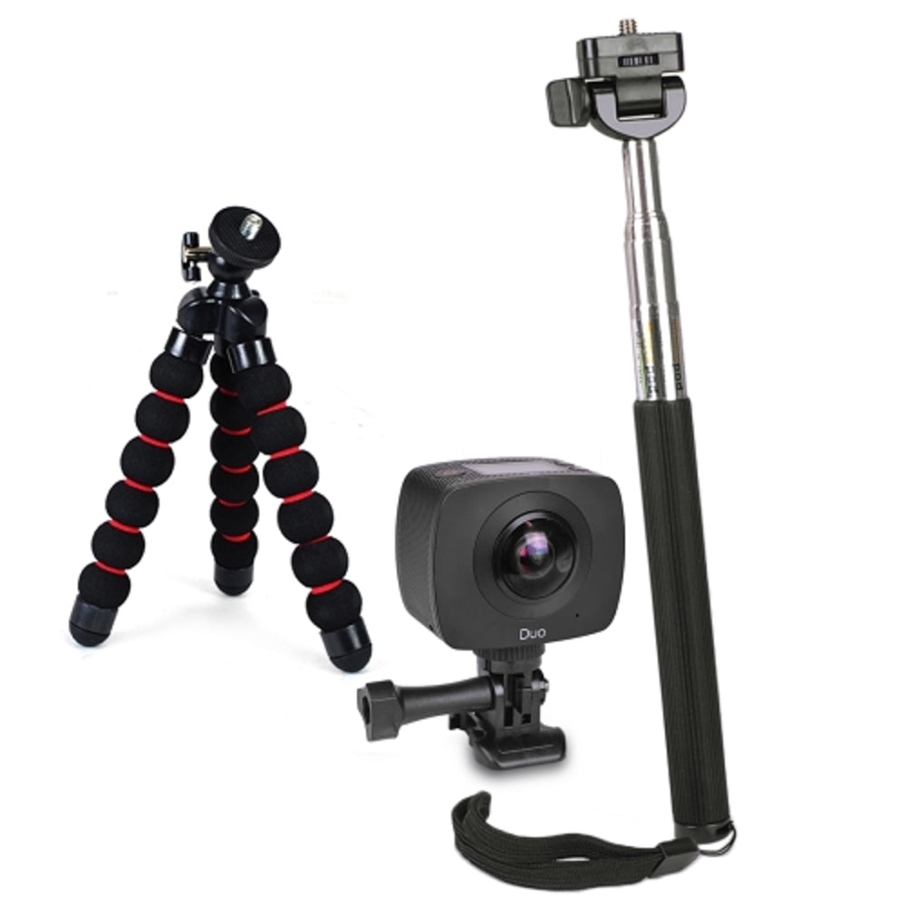 GIGABYTE JOLT Duo 360 4MPx2 1920x960 Dual Lens Sports Action Camera Kit w/Tripod, Selfie Stick & Monopod Adapter