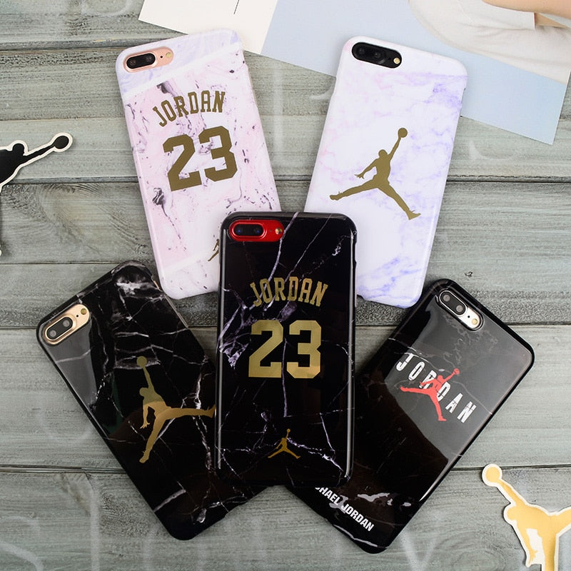 Fly Man Jordan 23 Cover case for iPhone XS Max XR X 8 7 6S 6 Plus Anti-Fade Marble pattern soft TPU shockproof armor coque