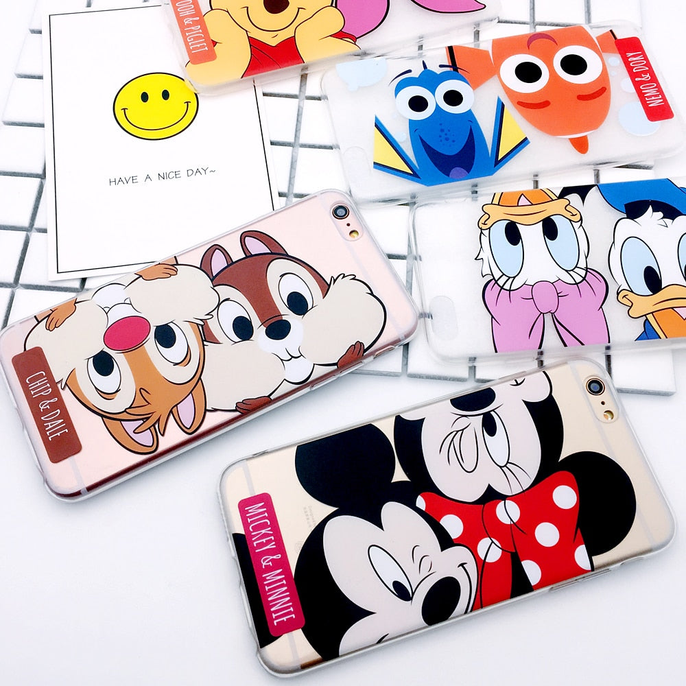 For Iphone 6 6plus 6s Plus 7 7plus 8 X Lovely Phone Case Mickey Minnie Dale Daisy Piglet High-quality  Clear Cartoon Cover Capa