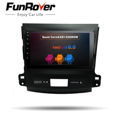 "Funrover 9"" Android 8.0 Car dvd radio Player for Mitsubishi Outlander 2006-2014 Car GPS Navigation Auto Radio Multimedia Stereo"