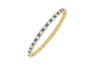 Sapphire and Diamond Eternity Bangle : 14K Yellow Gold - 2.00 CT TGW