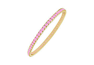 Pink Sapphire Eternity Bangle : 14K Yellow Gold - 2.00 CT TGW