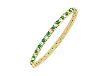 Emerald and Diamond Eternity Bangle : 14K Yellow Gold - 3.00 CT TGW