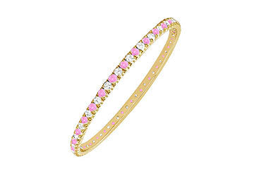 Pink Sapphire and Diamond Eternity Bangle : 14K Yellow Gold - 3.00 CT TGW