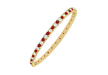 Ruby and Diamond Eternity Bangle : 14K Yellow Gold - 3.00 CT TGW
