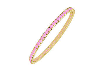 Pink Sapphire Eternity Bangle : 14K Yellow Gold - 3.00 CT TGW