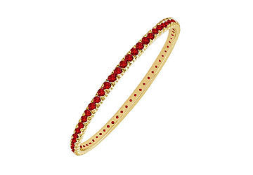 Ruby Eternity Bangle : 14K Yellow Gold - 3.00 CT TGW