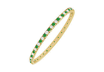 Emerald and Diamond Eternity Bangle : 14K Yellow Gold - 5.00 CT TGW