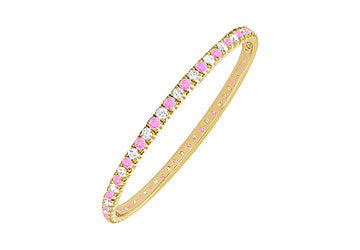 Pink Sapphire and Diamond Eternity Bangle : 14K Yellow Gold - 5.00 CT TGW
