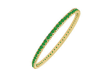 Emerald Eternity Bangle : 14K Yellow Gold - 5.00 CT TGW