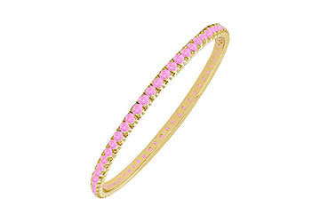 Pink Sapphire Eternity Bangle : 14K Yellow  Gold - 5.00 CT TGW