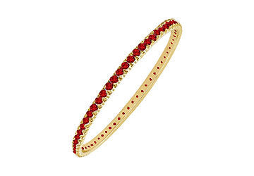 Ruby Eternity Bangle : 14K Yellow Gold - 5.00 CT TGW