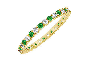Emerald and Diamond Eternity Bangle : 14K Yellow Gold - 6.00 CT TGW